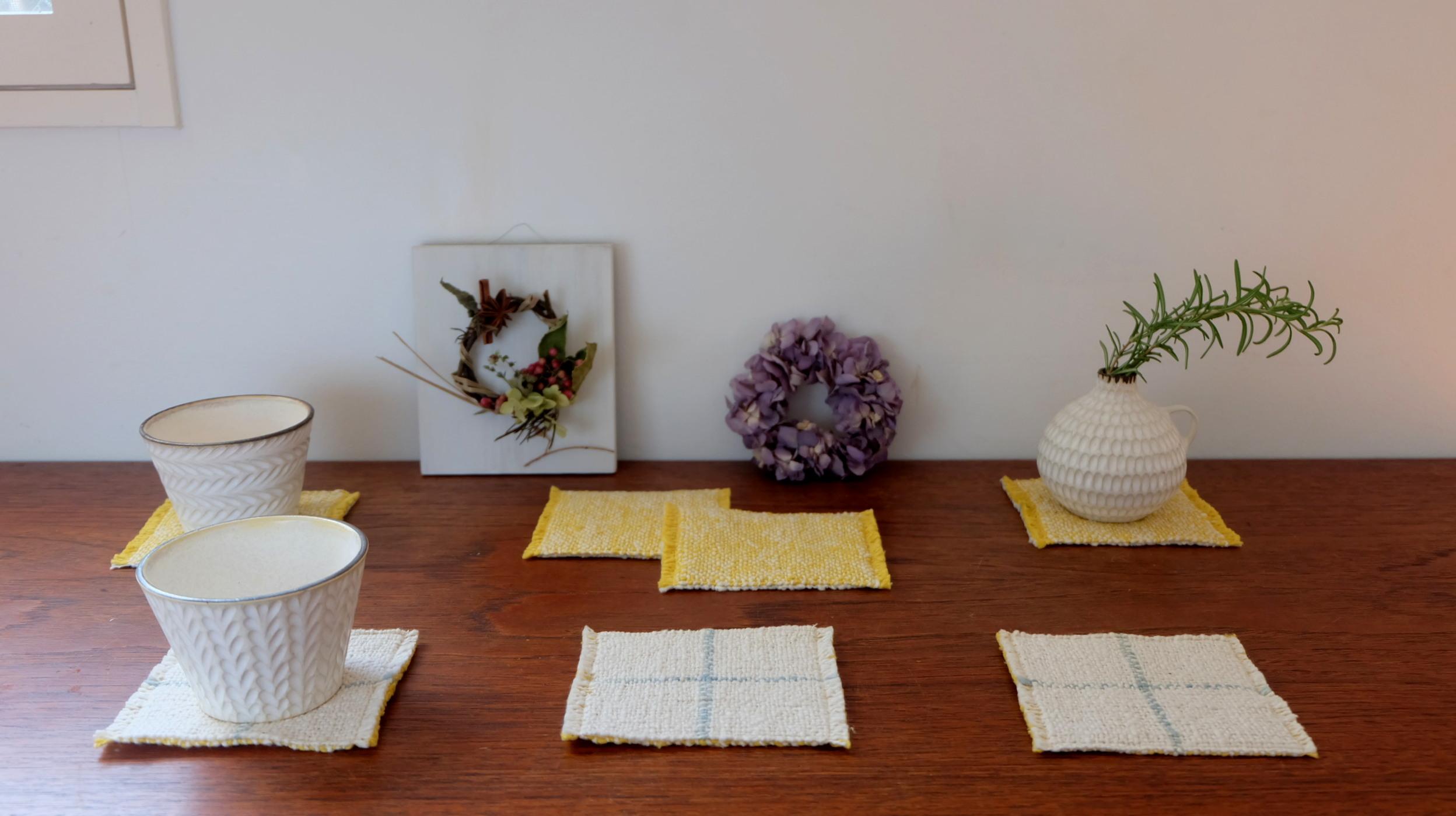【新商品入荷のお知らせ】「花と織」のリースとオーガニックコットン100%コースター