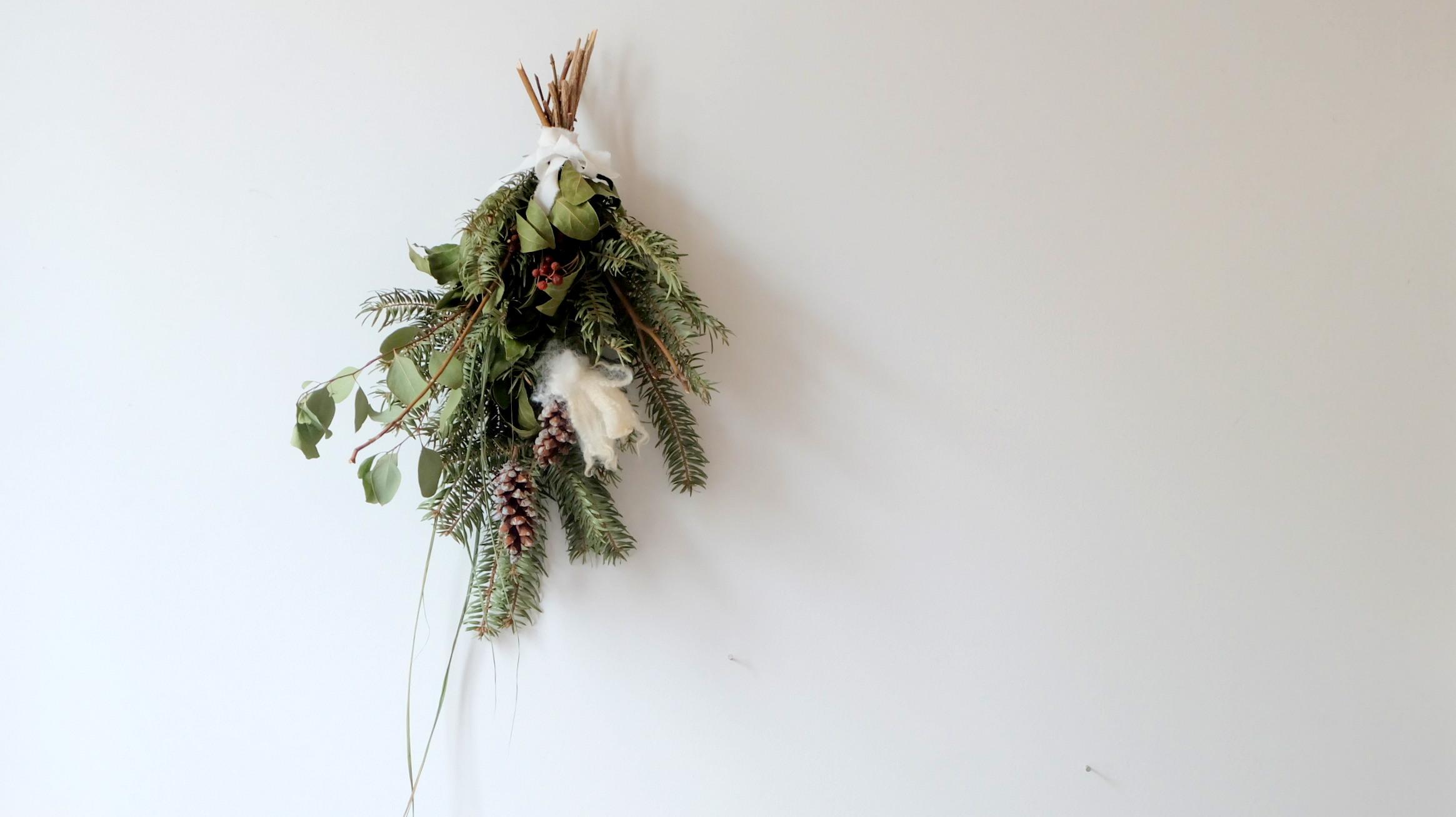 【クリスマス・ワークショップ第2弾のお知らせ/12月8日(日)】「冬のスワッグづくり」を開催します。